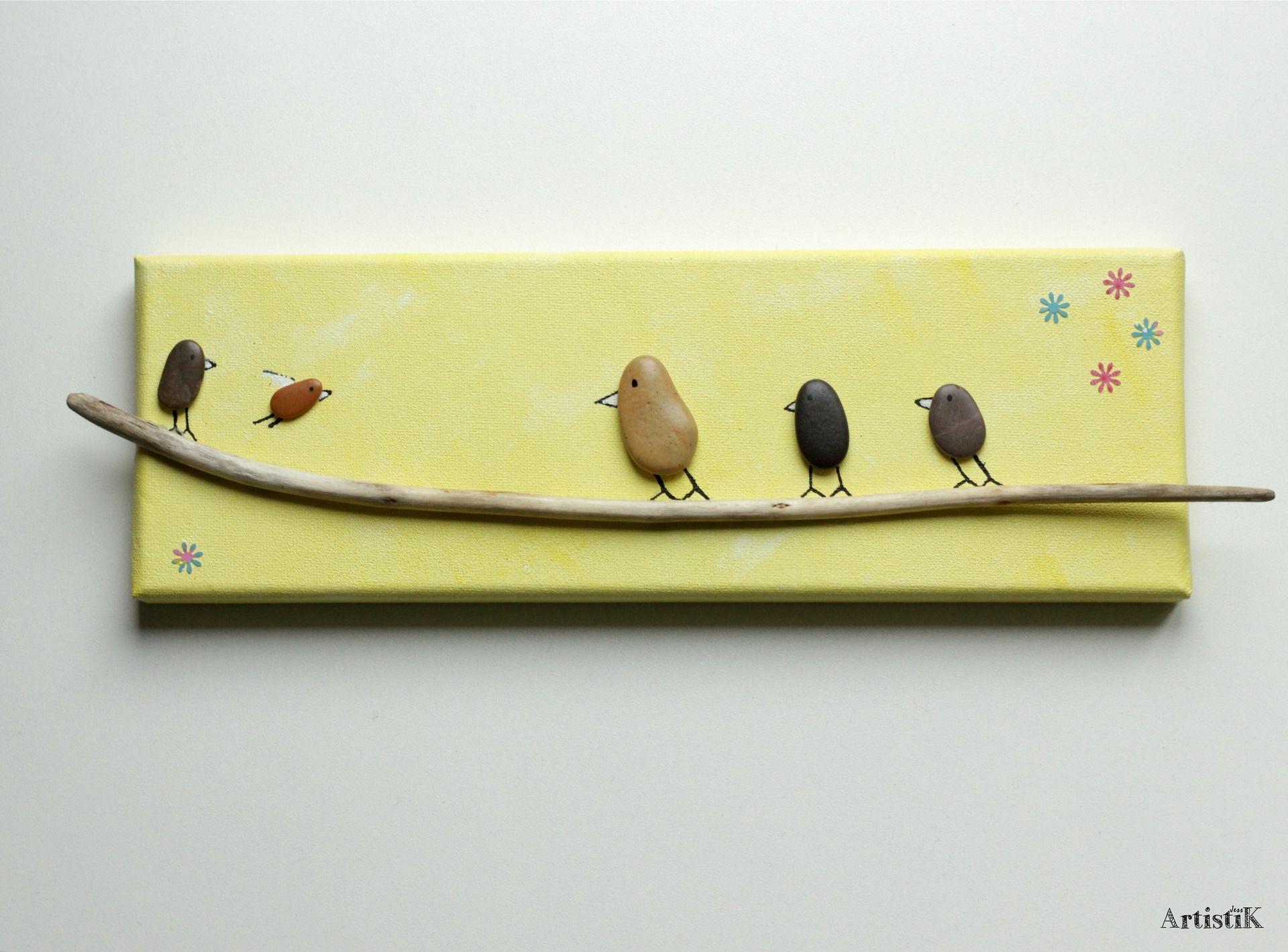 Tableau jaune galets oiseaux bois flotté original dessin