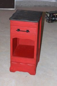 TotallyVintageDesign.com  Red up-cycle side table.  :)