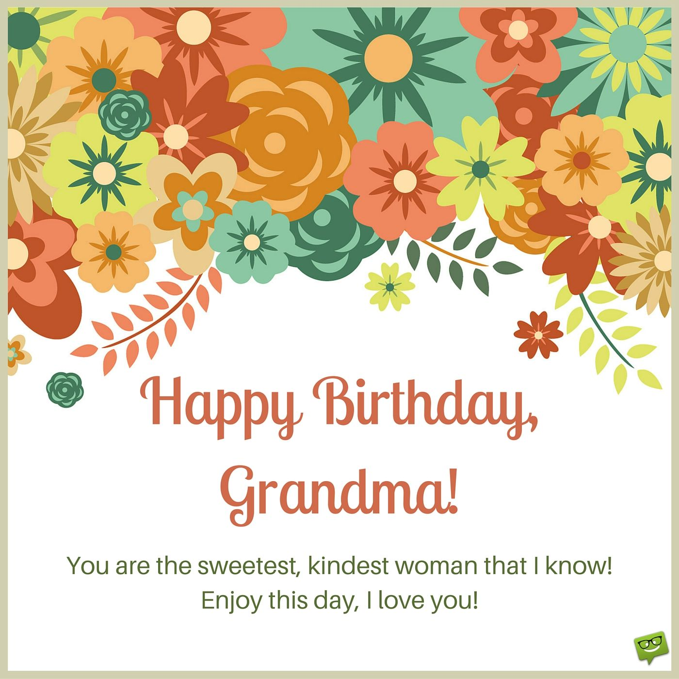 Birthday Wish For Grandma On Card With Drawings Of Colorful