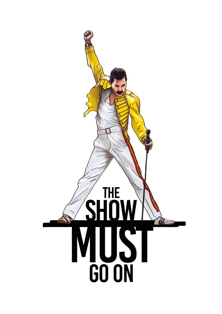 The Show Must Go On Freddie Mercury Queen Gift Idea Illustrations Typography Print Poster Wall Art Decor Home Office Decor Poster Queen Lyrics Queen Art Queen Gifts