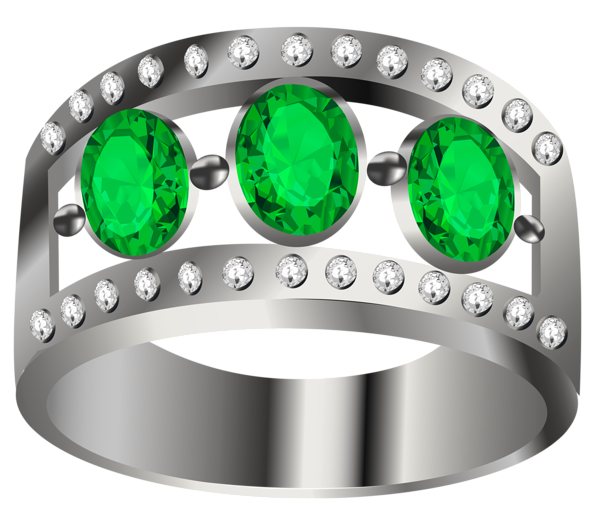 Silver ring with emeralds Joias, Perfume