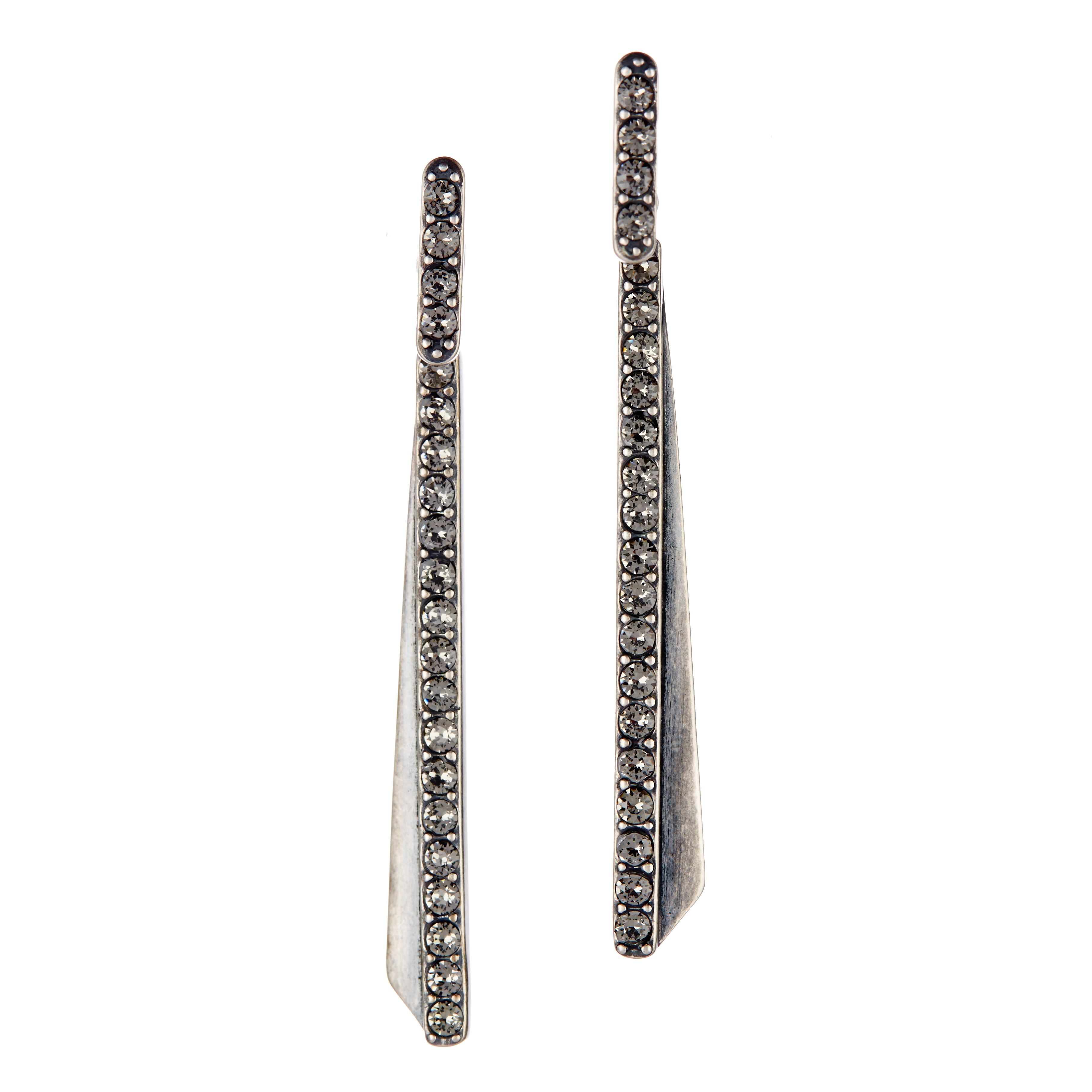 The Giles Brother Ray Bar Pave Drop Earrings In Gunmetal Them Now At