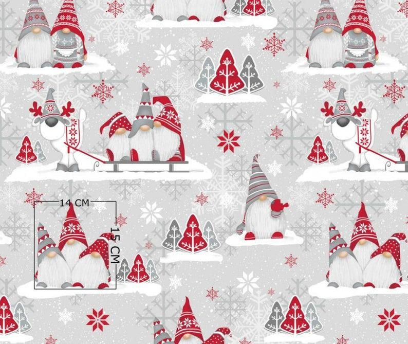 Scandinavian Gnomes Cotton Fabric By The Yardchristmas Gnomes Etsy Christmas Fabric Diy Christmas Ornaments Home Decor Christmas Gifts