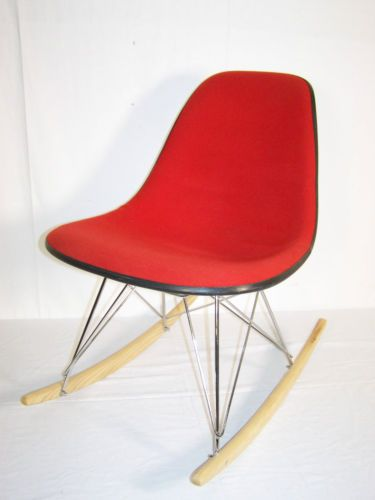 vintage eames herman miller rocking upholstered fibreglass shell 50s