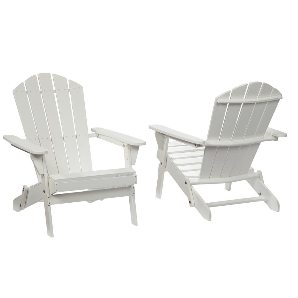 Hampton Bay Lattice Folding White Outdoor Adirondack Chair 2 Pack 2 1 1088white The Home Depot White Patio Furniture Outdoor Rocking Chairs White Adirondack Chairs