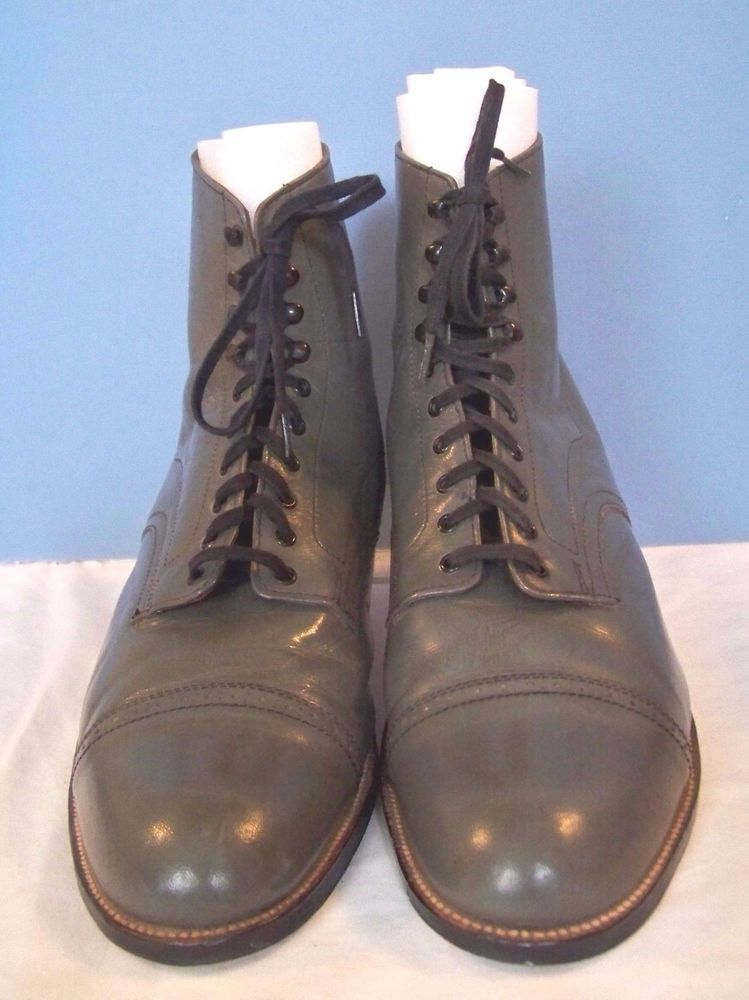 05a7eb716c0 Vintage Stacy Adams Gray Leather Madison Cap Toe Dress Boot 13D ...