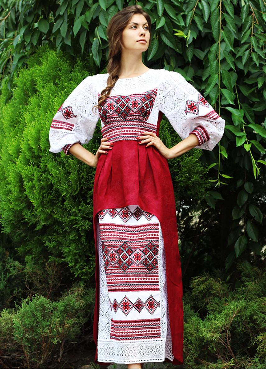 ad6d118d706eca0 Платье изо льна со старинной вышивкой ПЛ-770234 | Вышитые платья in ...