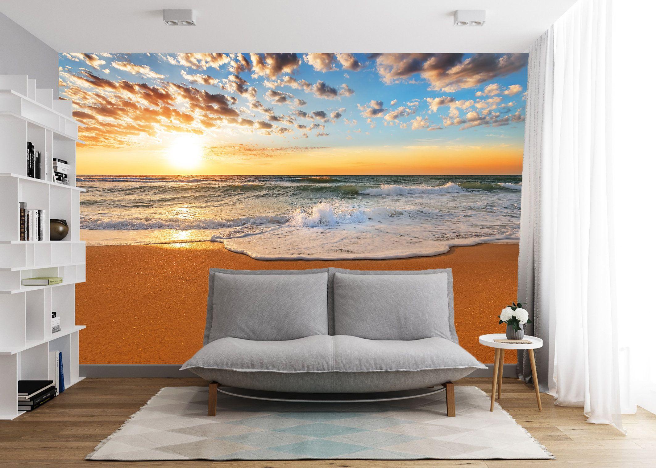 Sea Sunset Vinyl Wallpaper Ocean Beach Wall Mural Sea Sunset Etsy In 2020 Beach Wall Murals Vinyl Wallpaper Wall Murals
