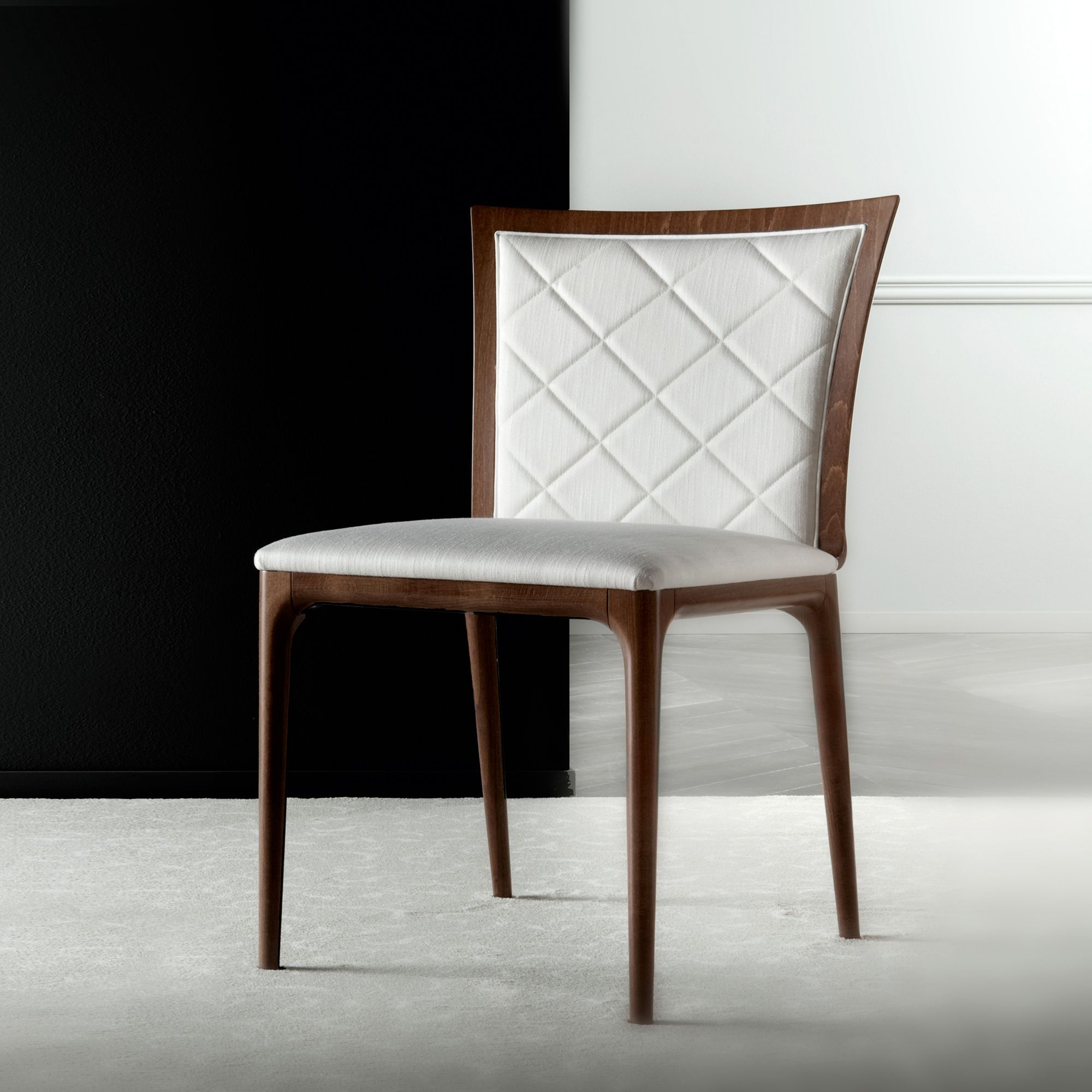 Luxury Italian Upholstered Four Seasons Chair With Metal