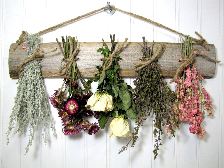 Dried flower decor on esty dried flower rack dried for Wall decor arrangements