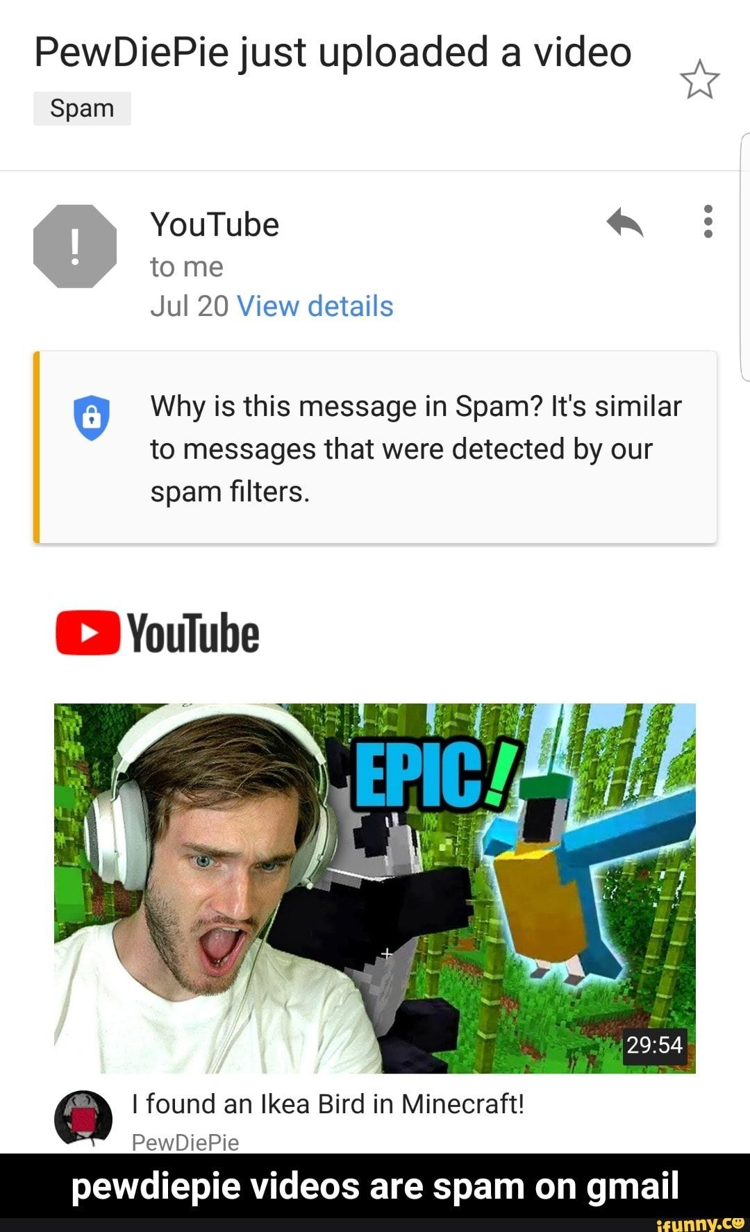 PewDiePie just uploaded a video Spam ? YouTube 4x º Why
