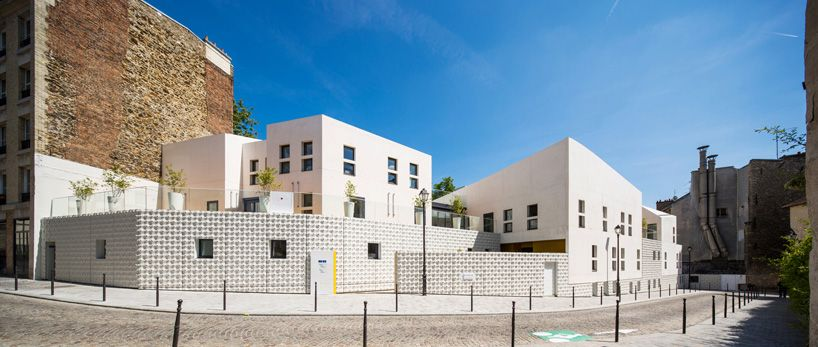 rhplus architecture textures white concrete for childcare center paris france