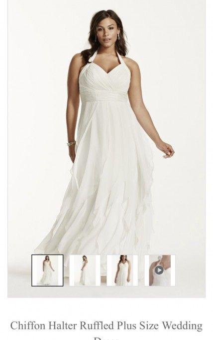 Galina Woman Chiffon Ruffled Wedding Gown