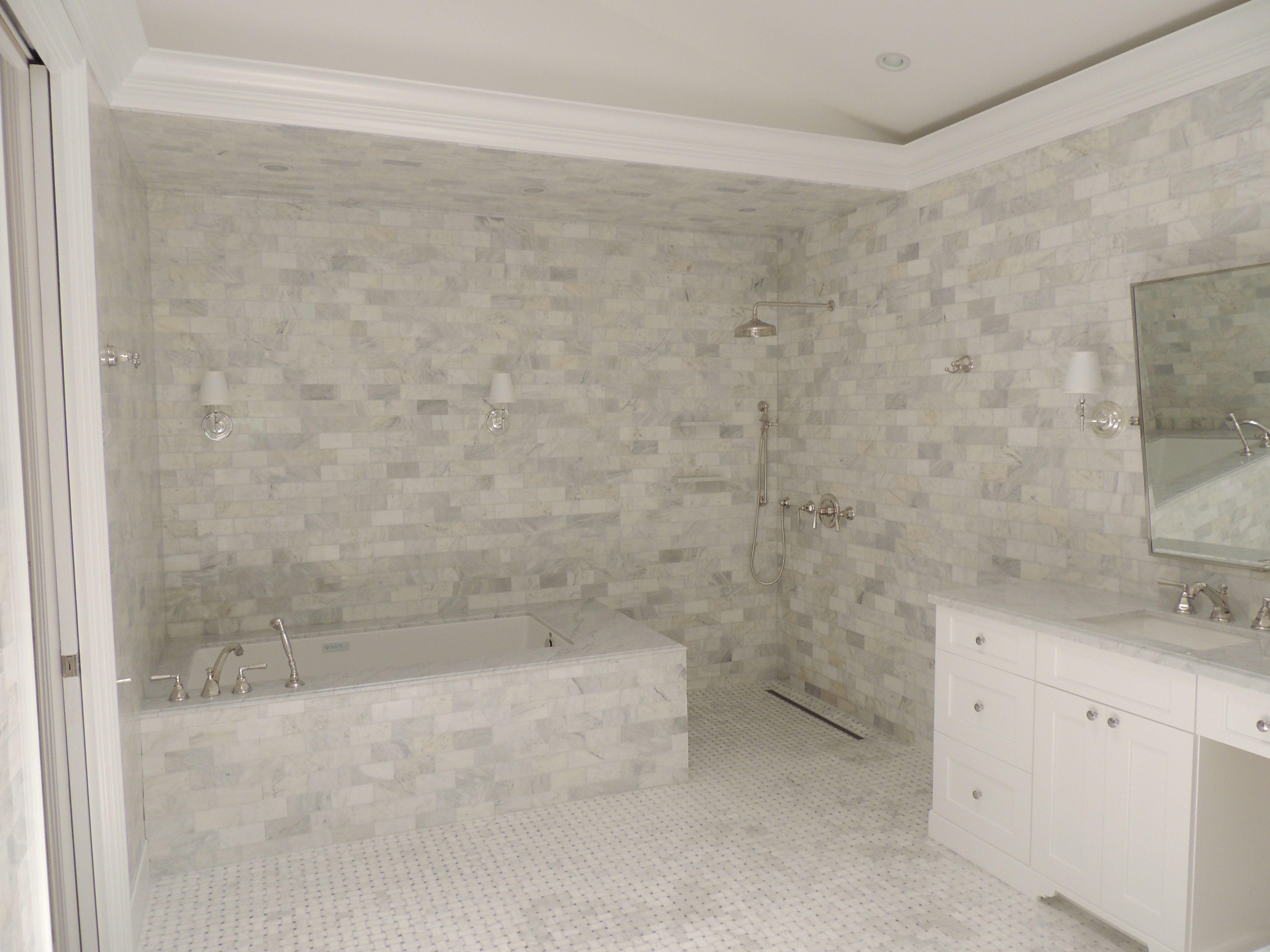 Carrera Marble, open shower, linear drain, basket weave marble floor ...