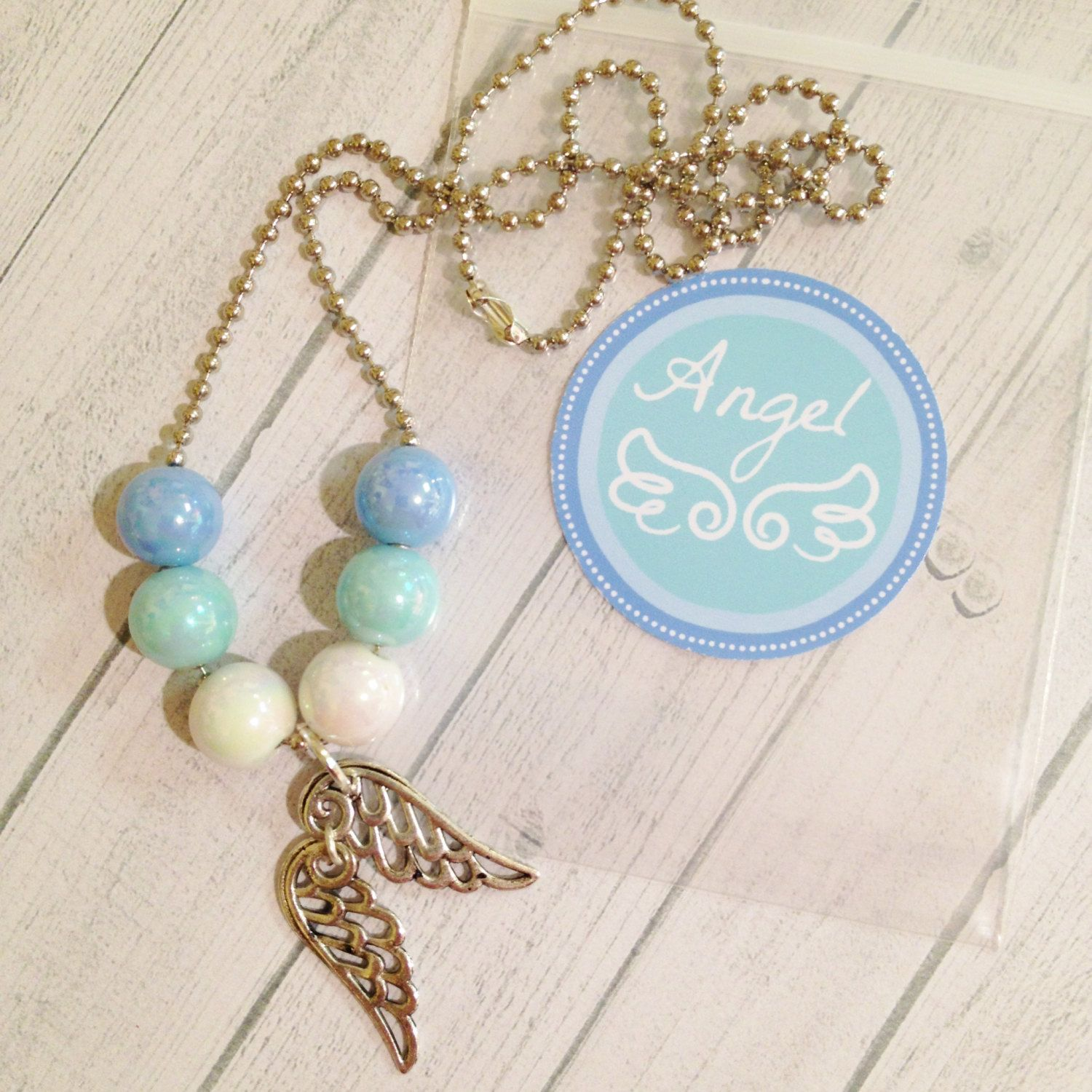 8  Angel Wings Necklace Party Favors Slumber or Birthday Party Favors Angel Birthday Party Baptism Confirmation Party Favor - pinned by pin4etsy.com
