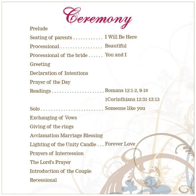 Lutheran wedding ceremony outline google search for Wedding blessing order of service template