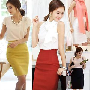 Ladies womens Wear work office Formal Bodycon sexy pencil skirts ...
