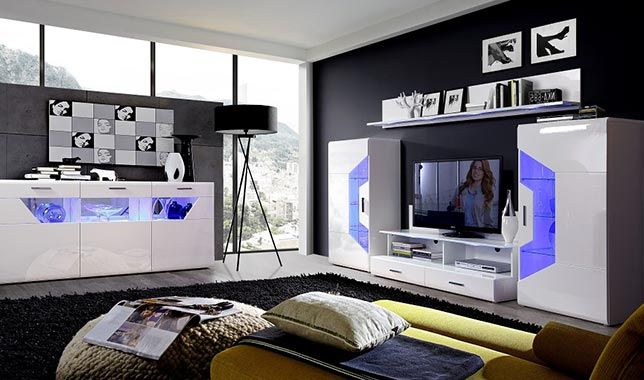 Séjour design SAPHIR blanc brillant: http://www.basika.fr/meuble ...