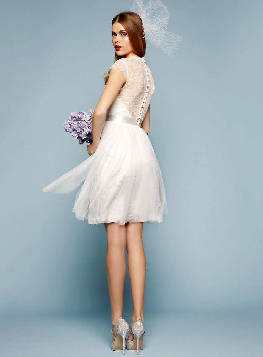 bridalup.com SUPPLIES Elegant A-Line Knee-Length V-Neck Lace Wedding ...