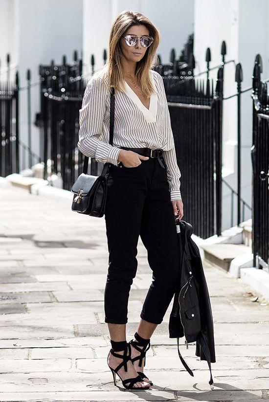 De calça preta curta | Estilos de rua chique, Roupa de