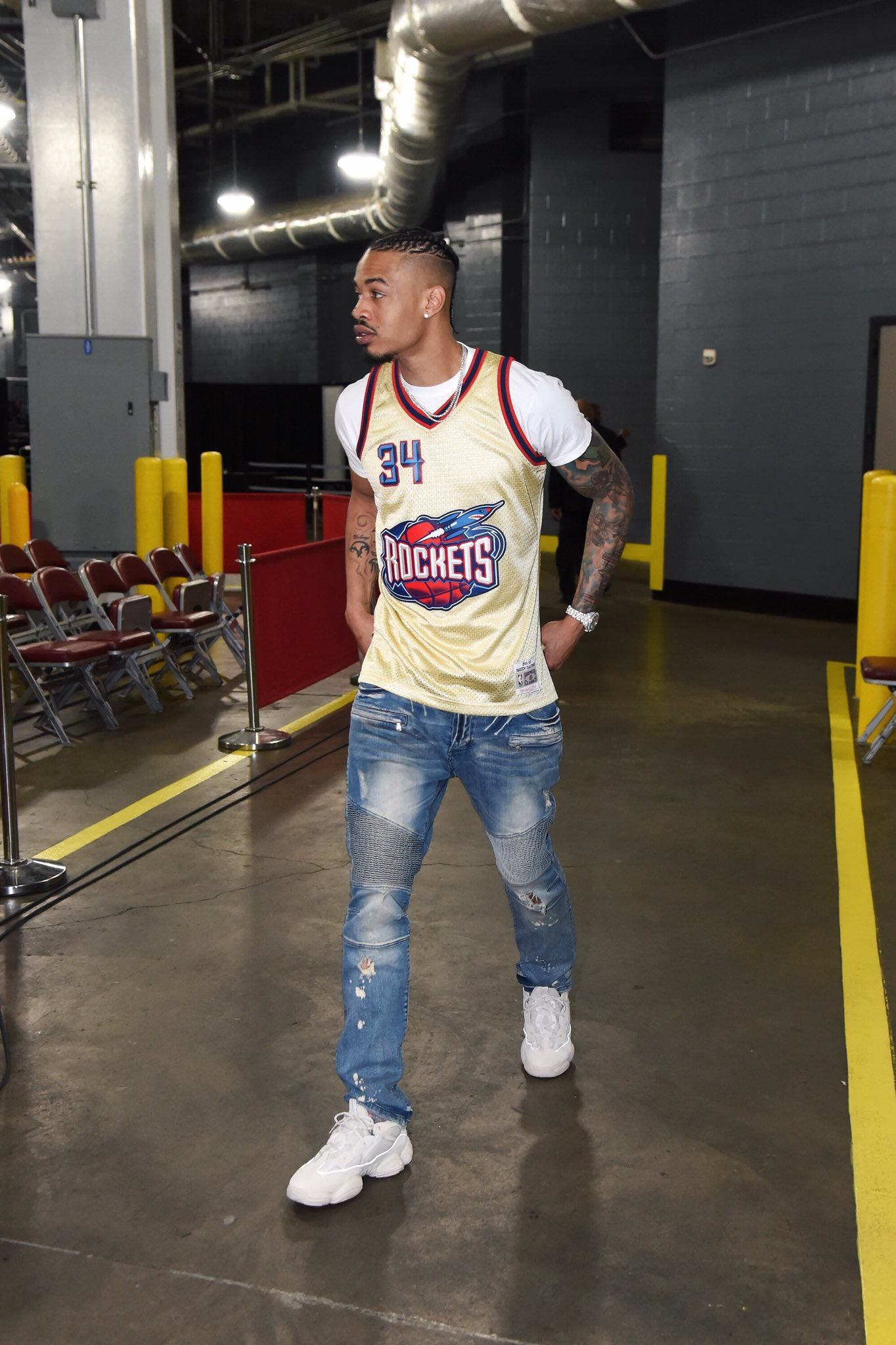 2f34b8696114b Gerald Green arrives in the adidas YEEZY 500 for Game 1 Yeezy Boost 500