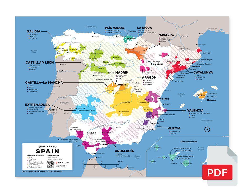 Spain Wine Map Wine Map Wine Region Map Spain