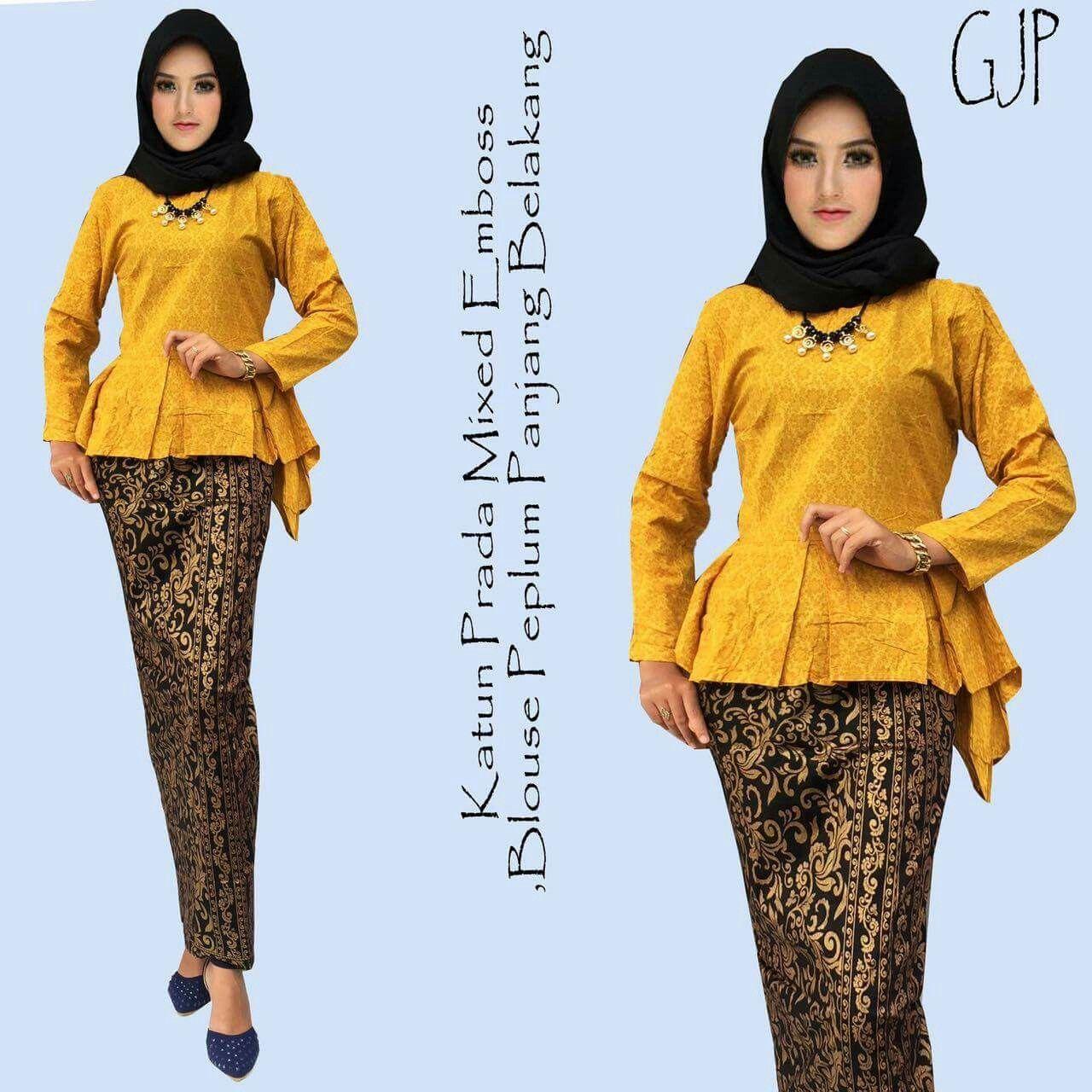 Baju Embos Kombinasi Batik: Rok Dan Blouse Batik GJP Kuning Batik Prada Kombinasi