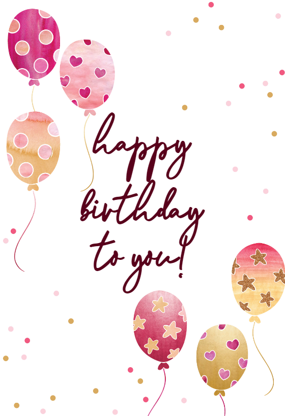 Pink Gold Balloons Birthday Card Free Greetings Island In 2021 Happy Birthday Wishes Cards Happy Birthday Printable Happy Birthday Cards