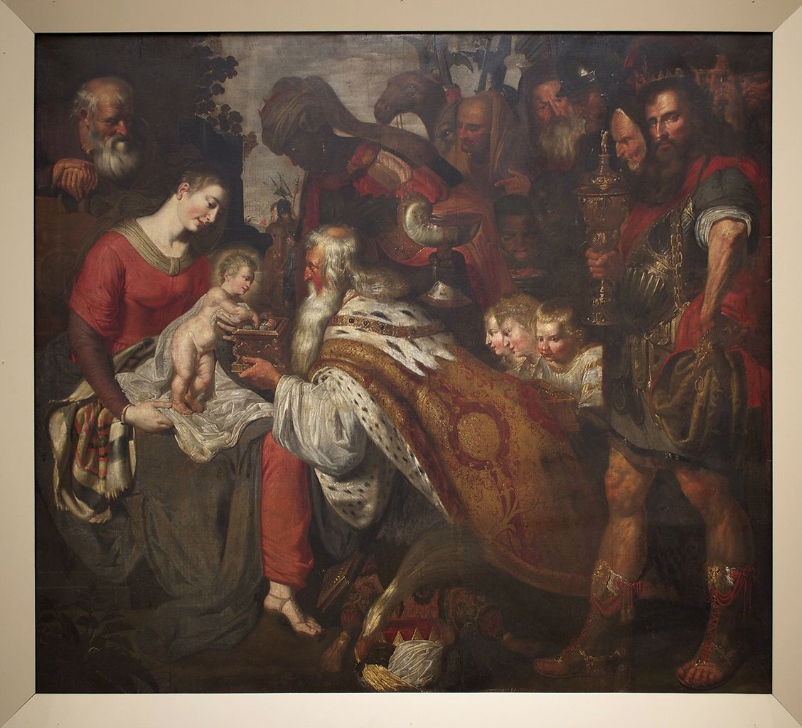 Adoration of the Magi, oil on canvas, Flemish, 17th century, artist unknown, KSUM 1983.4.695.