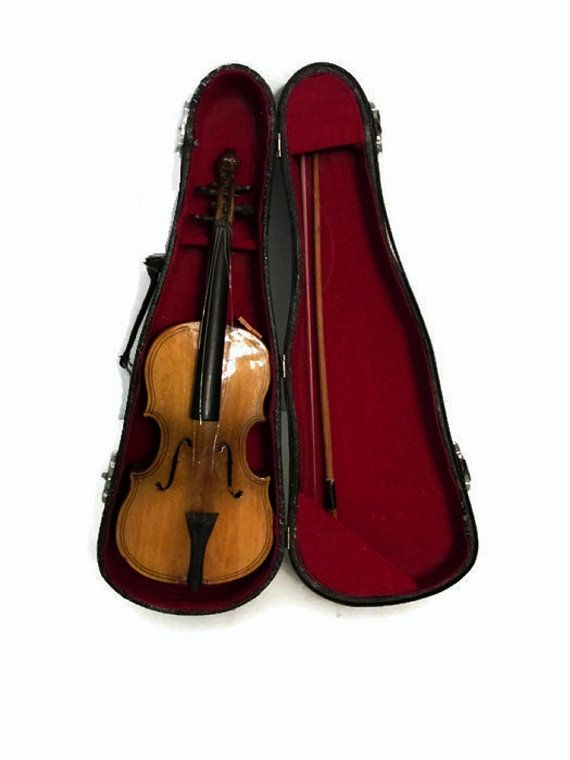 Miniature Violin Case Bow Musical Music Instrument Gift Collection Small Tiny