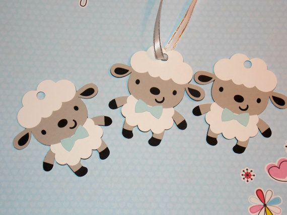 Boy Sheep Party Favor Tags/ Baby Blue/ Baby Sheep/ Baby Lamb Party ...