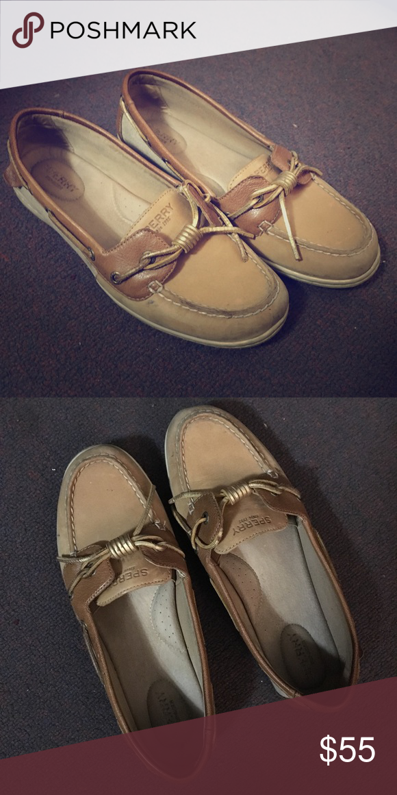 771d034d8fb6 Sperry Women's Barrelfish Linen/Gold 9.5 M Condition like new. Selling  because of size. Open to offers! Sperry Shoes Flats & Loafers
