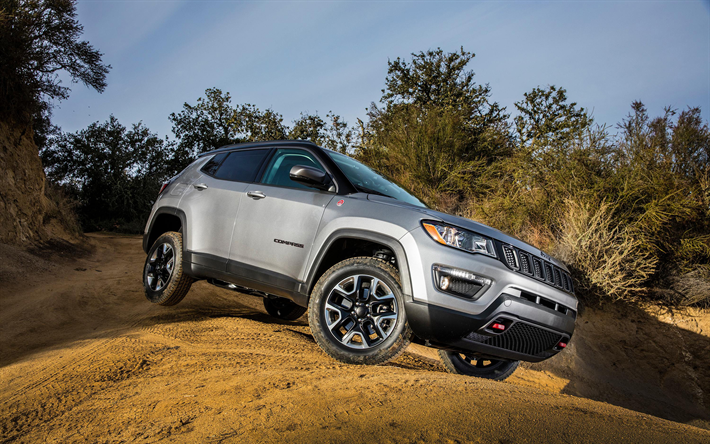 Download Wallpapers Jeep Compass Trailhawk 4k 2017 Cars Offroad New Compass Jeep Besthqwallpapers Com Voiture Jeep