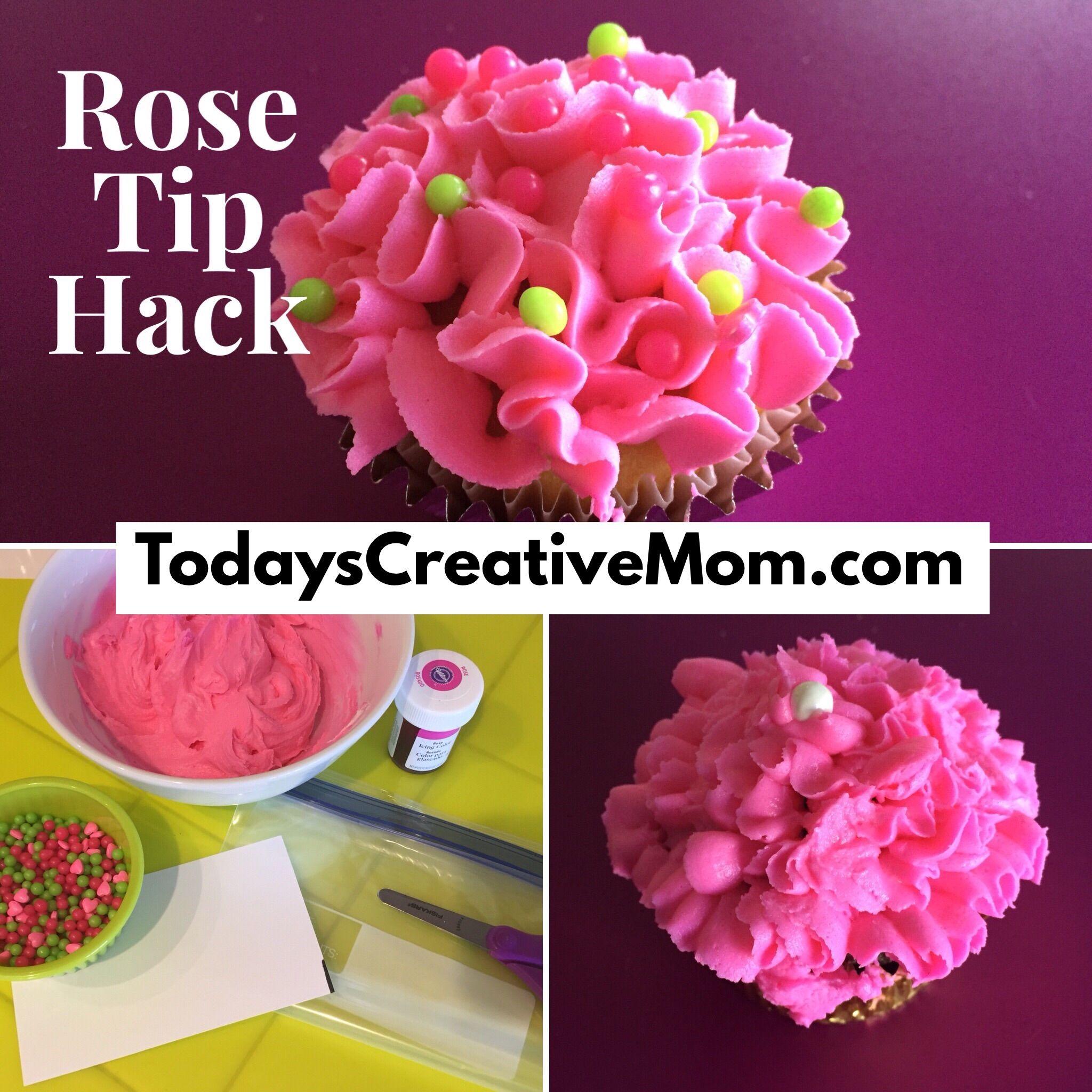 Make a rose tip decorating bag with a freezer bag. TodaysCreativeMom.com