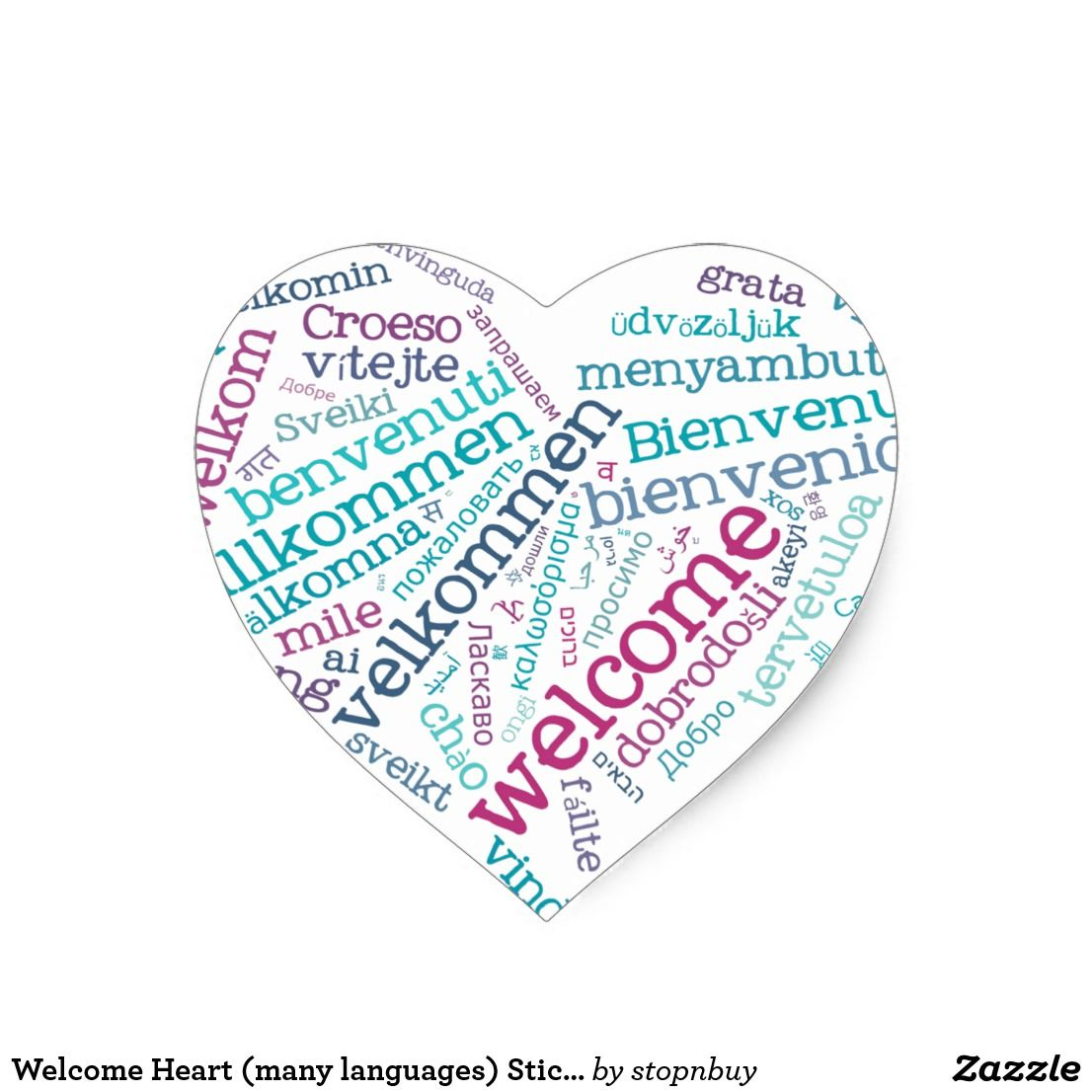 Welcome Heart Many Languages Sticker