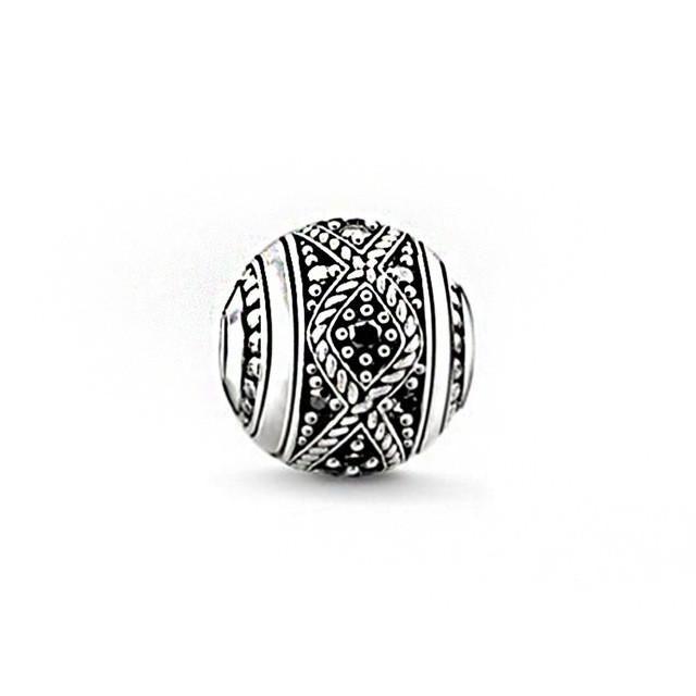 Thomas Sabo Women Men-Bead Hand of Fatima Karma Beads 925 Sterling Silver blackened K0219-637-12 WfLpK76Eft