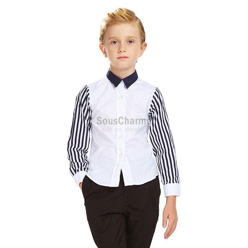 f4fff9df0159d Chemise enfant garçon d'honneur blanche pour baptême communion manches à  rayure col noir