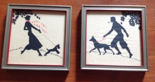 Vintage Silhouette Reverse Paintings Set Hand Painted Buzza Company in Antiques, Decorative Arts, Picture Frames | eBay