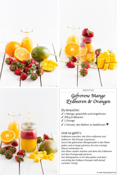 SMOOTHIE: Gefrorene Mango, Erdbeeren & Orange #fruitsmoothie