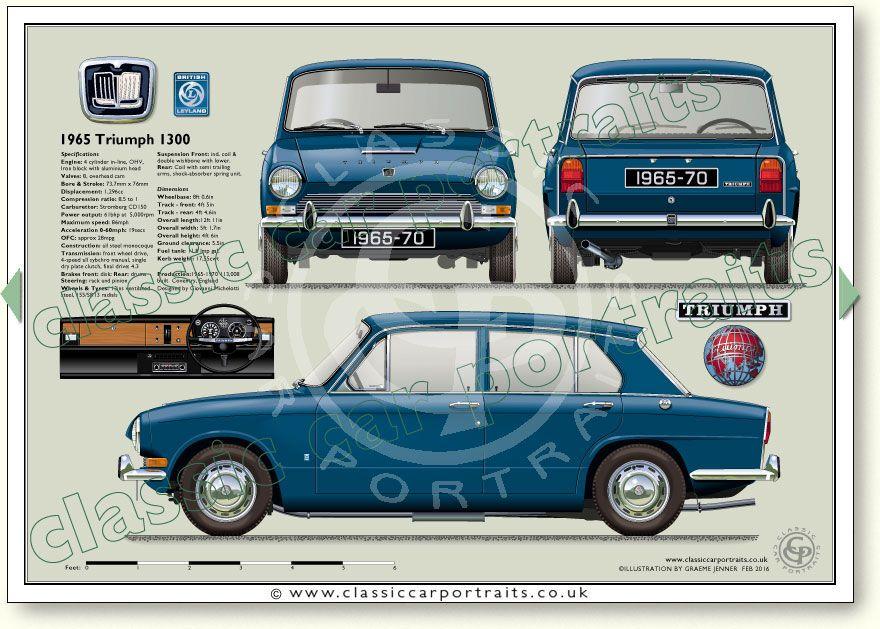 Triumph 1300 1965-70 specifications classic car portrait print ...