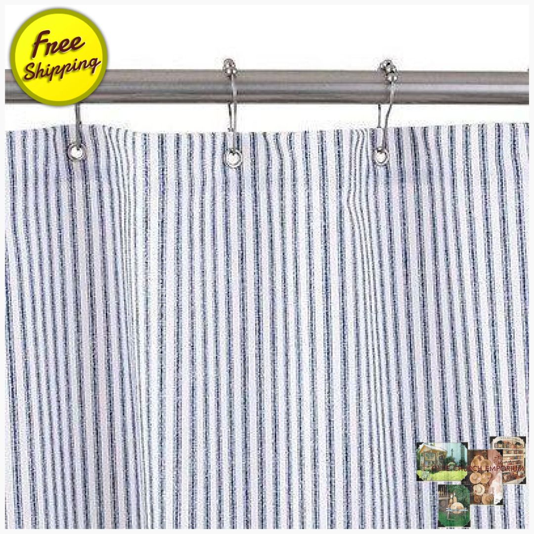 Blue Ticking Stripe Shower Curtain No Liner Needed Made In Usa
