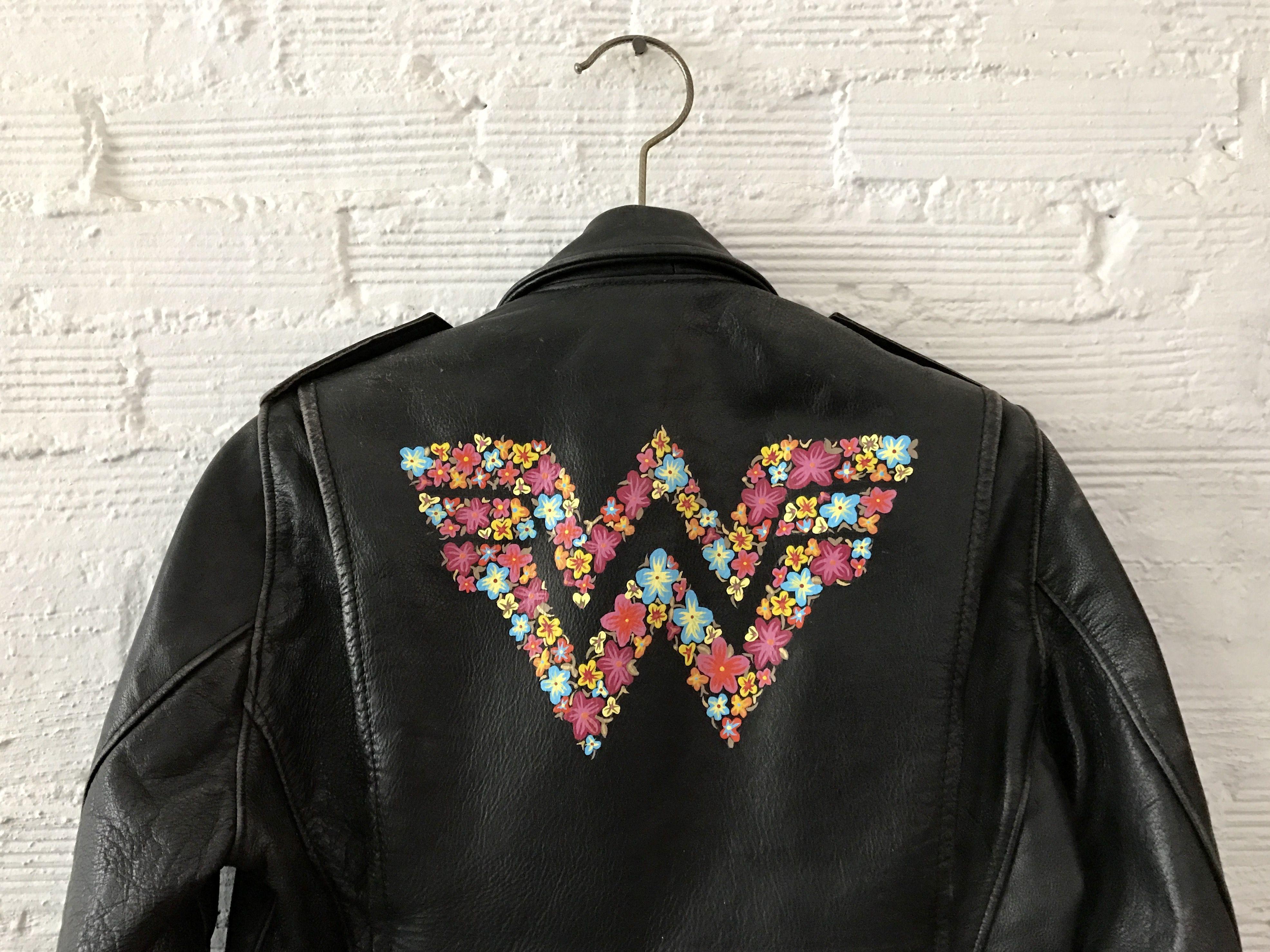 WONDER WOMAN hand painted logo on vintage leather jacket