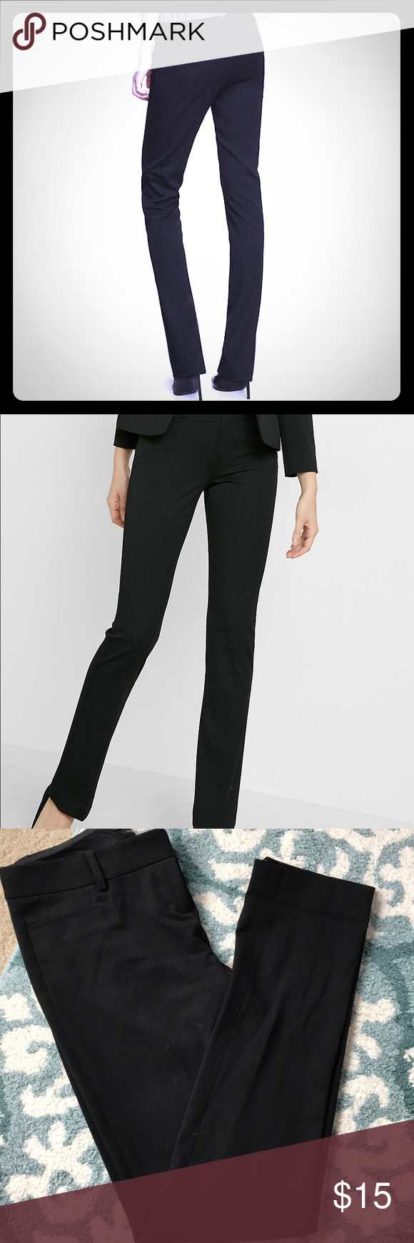 Express columnist skinny work dress pants Gorgeous slim skinny cigarette black columnist express pants size 2R give a professional yet flattering streamlined silhouette.   go from work to play w these very gently loved pants. Button zipper and clasp closures.   Bundle to save! Thanks for looking. 💙💙💙 Express Pants Skinny