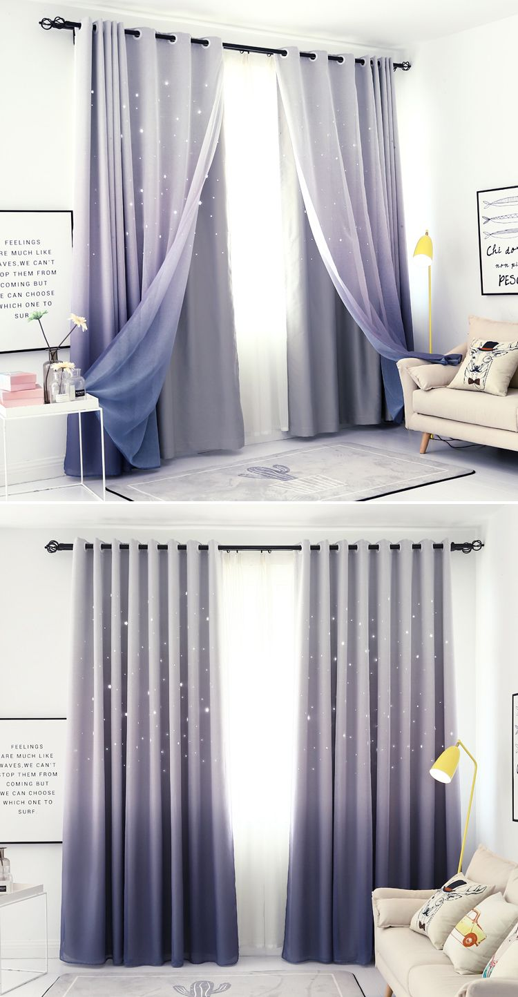 Stars Block Out Curtains In Grey Purple In 2019 Block