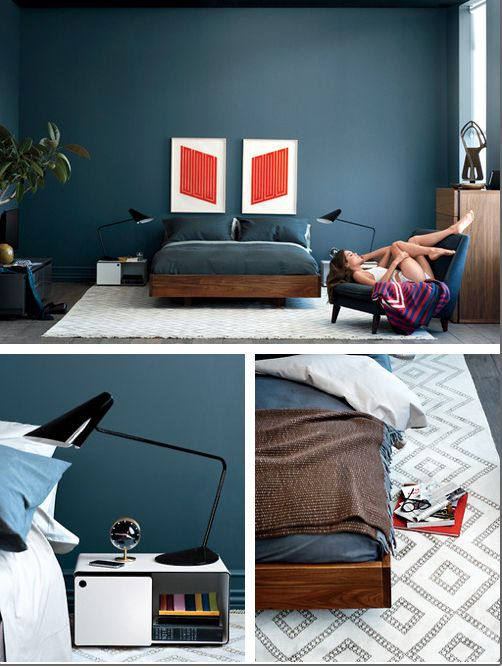 Nothing cooler than inky dark walls for bedrooms. AVOIDING BLAND BEDROOM SYNDROME   Stylish bedroom  Fireplace wall