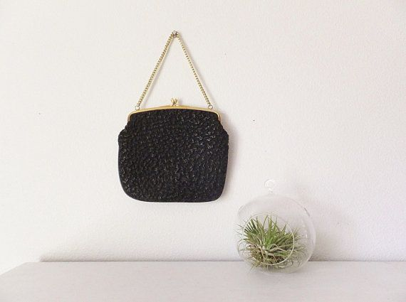 df8b1d290969 Vintage Clutch Purse Textured Black Faux Leather Purse Bag Vtg 1950 s  1960 s Gold Tone Trim Purse w