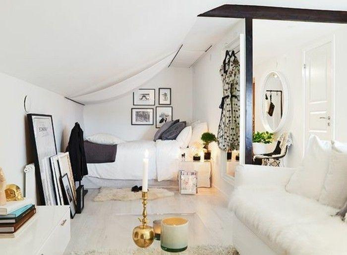 Camera da letto e soggiorno insieme, decorazioni e accessori di ...