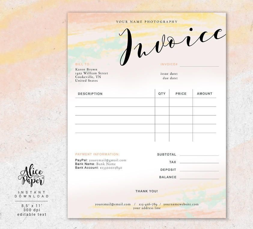Invoice Template For Photographer Photography Invoice Receipt Etsy Invoice Template Photography Invoice Receipt Template