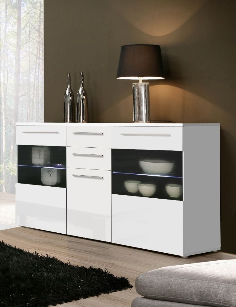 Milano High Gloss White Sideboard Chest Dresser With Lighting Modern  Furniture