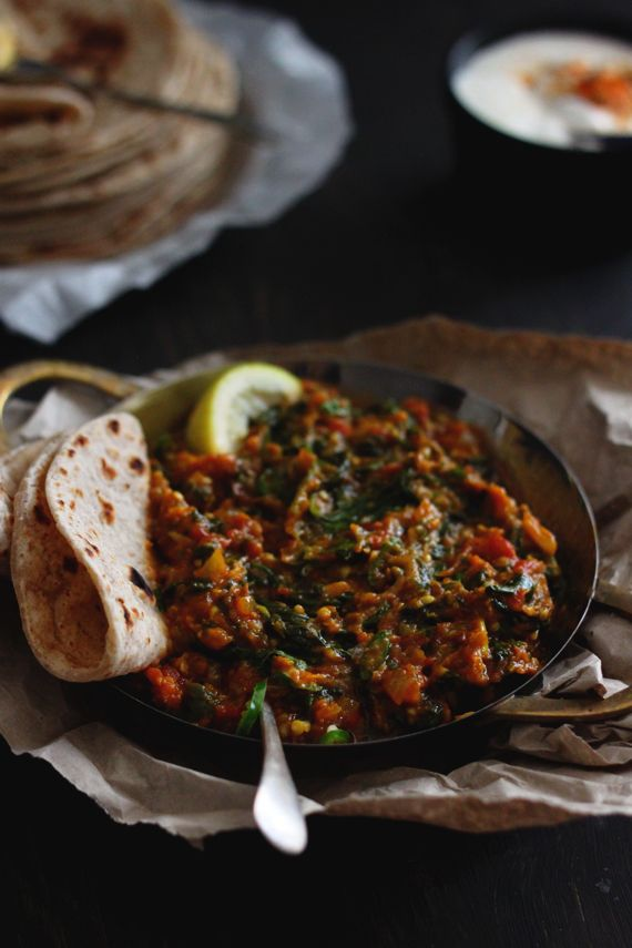 Melt in the mouth burnt aubergine and spinach curry ko rasoi i live and breathe gujarati food simple vegetarian dishes wed eat every night when i was young are what have inspired my love of cooking today forumfinder Images